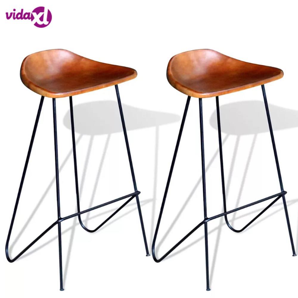 VidaXL Brown Bar Chair 2 Pcs Genuine Leather Hard Genuine Bar Chair Suitable For Restaurants Bars Living Room Bar Stool