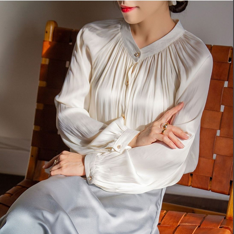 Streetwear 2020 Fashion Women Shirt Lantern Sleeve Tops Temperament Lady Single Breasted Pleated Ruched Loose Blouse Clothes