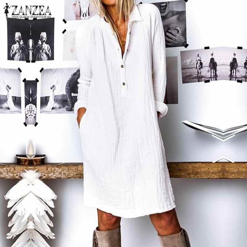 אופנה סתיו דש צוואר ארוך חולצה שמלת ZANZEA נשים ארוך שרוול כפתורי כותנה פשתן קיצי מקרית Loose העבודה OL Vestido