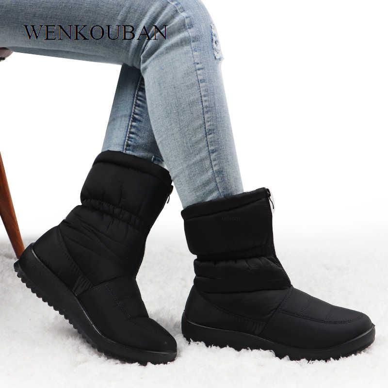Kışlık botlar kadın su geçirmez sıcak kar yarım çizmeler siyah bayanlar kürk platform ayakkabılar ön Zip kaymaz takozlar Bota Feminina 2020