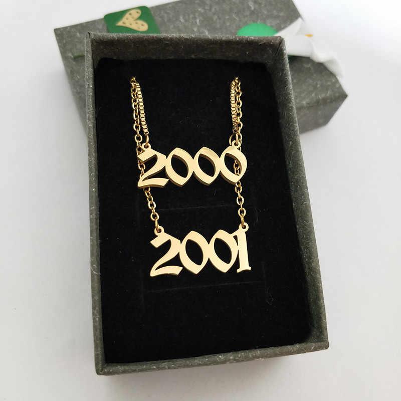 $0.2/pces colar do ano da criança corrente cheia de ouro antigo inglês número colares coroa charme aço inoxidável gargantilha presente de aniversário