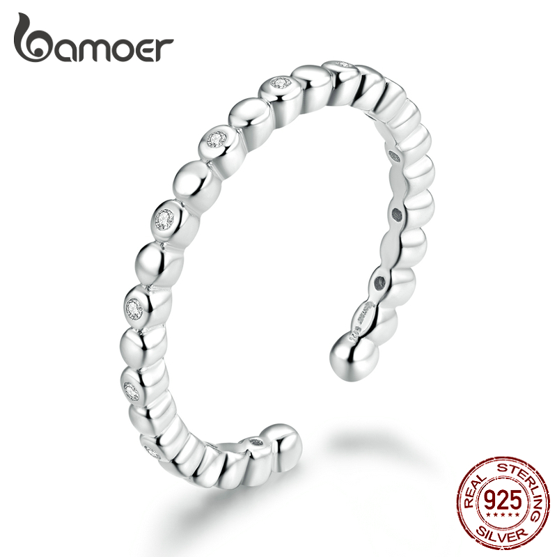 Bamoer CZ Wedding Statement Finger Rings For Women Authentic 925 Sterling Silver Open Adjustable Ring Bauge Fashion BSR107