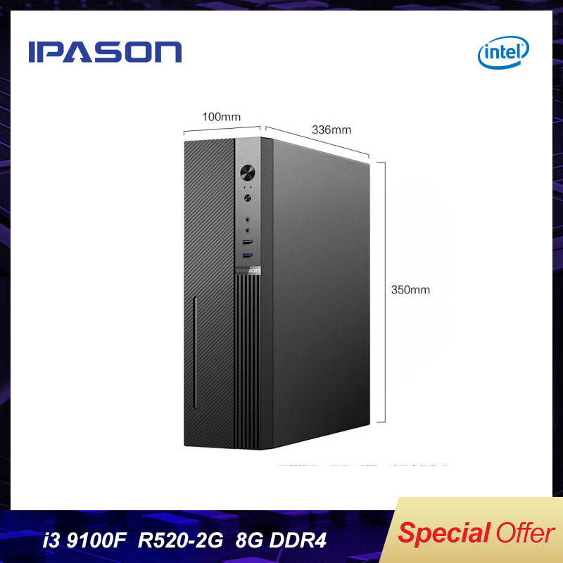 IPASON Desktop Computers Mini PC 9th Gen Quad Core I3 9100F DDR4 8G RAM 240G SSD R520 2G GDDR5 Dedicated Card Mini Computers