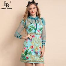 LD LINDA DELLA New 2021 Fashion Runway Summer Mini Dress Women Mesh Patchwork manica lunga stampa floreale elegante abito corto da festa