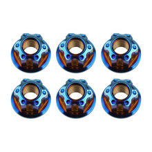 6 Pcs Titanium Hex Flange Nuts Ti M6 M8 M10 M12 M14 M16 Nut for Motorcycle Bicycle Bike Brake Accessories