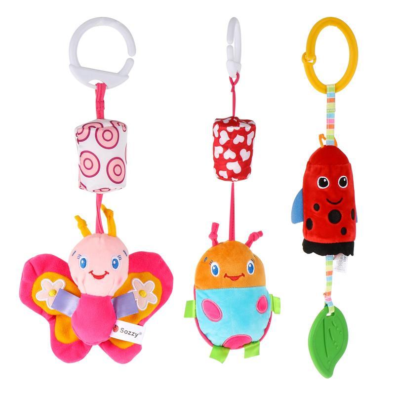 3Pcs Hanging Plush Crib Toys Plush Cartoon Pendants for Babies Infants