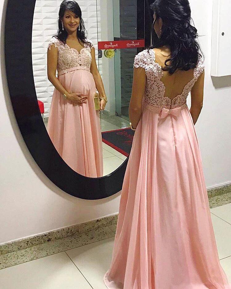 Maternité dentelle perlée arabe robes de soirée avec Cap manches rose en mousseline de soie longues robes de bal élégant formelle fête robes enceintes