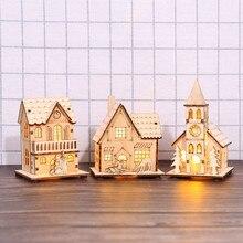 Небольшой деревянный светодиодный светильник, деревянный домик, домик для рождественской елки, вечерние украшения, висячие украшения для дома, рождественский подарок, свадебный Navidad