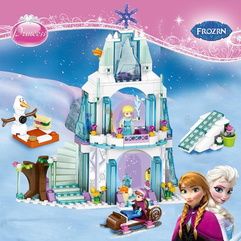 Dream Princess Frozen Castle Elsa Ice Castle Princess Anna Set Model Building Blocks Figure Friends Bricks Gifts Toys