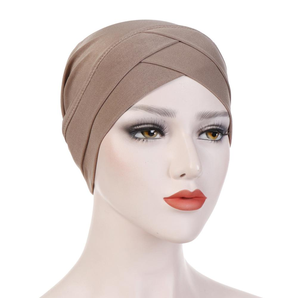 2019 Muslim Stretch Turban Cap Full Cover Inner Hijab Caps Islamic Underscarf Bonnet Solid Modal Under Scarf Caps Turbante Mujer