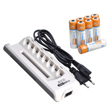 AA AAA Ni-MH Ni-Cd Rechargeable Batteries and 8 Slots Smart Fast Charger with LED Display for aa aaa Batteries cheap powertrust AA AAA NIMH 2800mAh Charger Sets 1100mAh 8 Slots AA AAA Charger Input 110-240V 50 60Hz 100mAh Output 2 4V==AA AAA 180mA