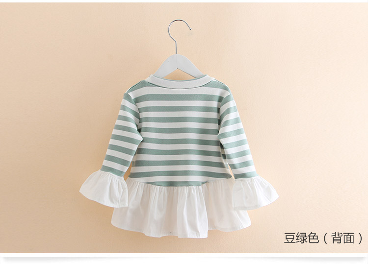 2019 Spring Fashion 2-10 Years Kids Child Tees Tops O-Neck Long Sleeve Stripe Lace Patchwork Cotton Autumn Baby Girls T-Shirts