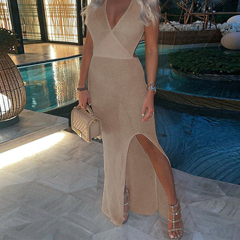 2021 Crochet Beach Maxi Dress For Women See Through Sexy Plunge Backless Bandage Sleeveless Lacing Split Long Dresses 9