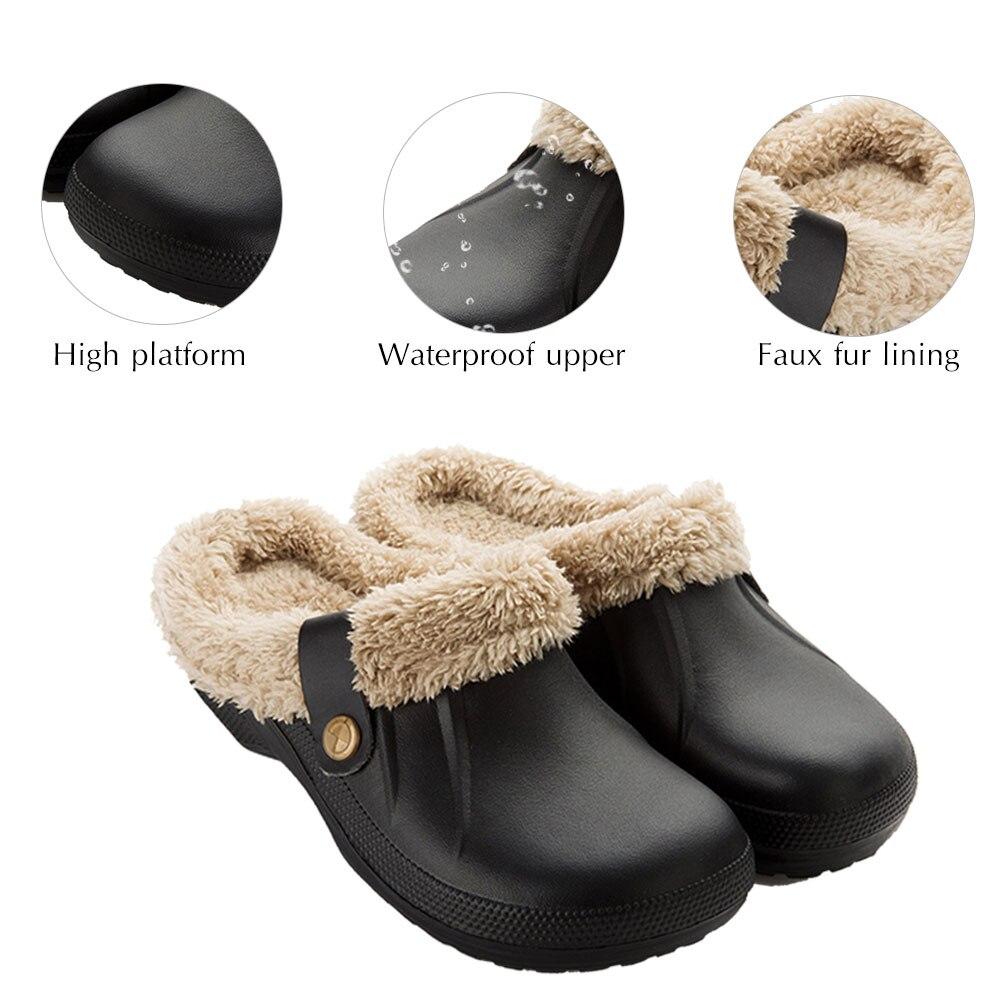 H198cde2009f54959bee16e197992b6f6G Pantufa chinelos masculinos de couro, de alta qualidade, de pu, para inverno, de pelúcia, curto, salto plano, quente, para área interna