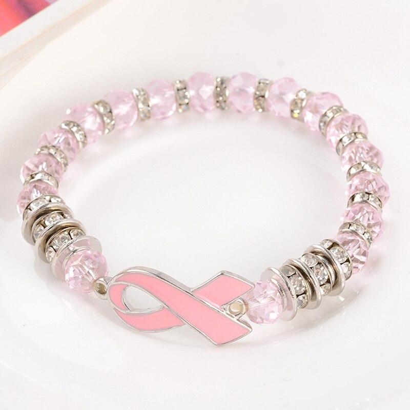 Beads Bracelets Pink Ribbon Bracelet