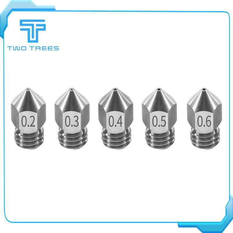 1PCS MK8 Nozzle 0.2 0.3 0.4 0.5 0.6mm M6 Threaded Stainless Steel for 1.75mm Filament for CR-10 CR-10S Ender-3 3D printer