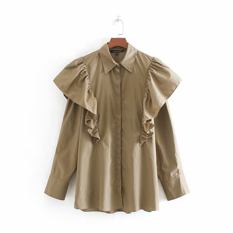 Women High Street Solid Color Pleats Cascading Ruffles Casual Smock Blouse Shirts Women Long Sleeve Blusas Femininas Tops LS4252