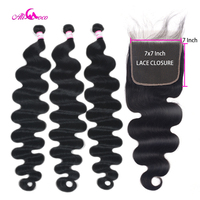 Ali Coco Body Wave Human Hair Bundles With 7x7 Closure 8 40 inch Brazilian Remy Hair Bundles With Lace Closure Hair Extensions