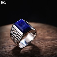 New 100% real 925 pure silver lapis lazuli ring men fashion ring court personality domineering men rings