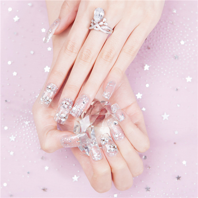 520-Flash Zuan16 No. Online Celebrity Style Bride Pink Diamond Fake Nails Finished Product Wear Nail Stickers