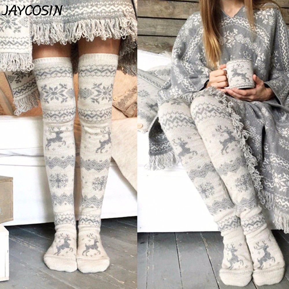 JAYCOSIN Women Christmas Snowflake Elk Socks Thigh High Long Stockings Warm Winter Knitting Over Knee Socks Xmas Knit Wool Socks