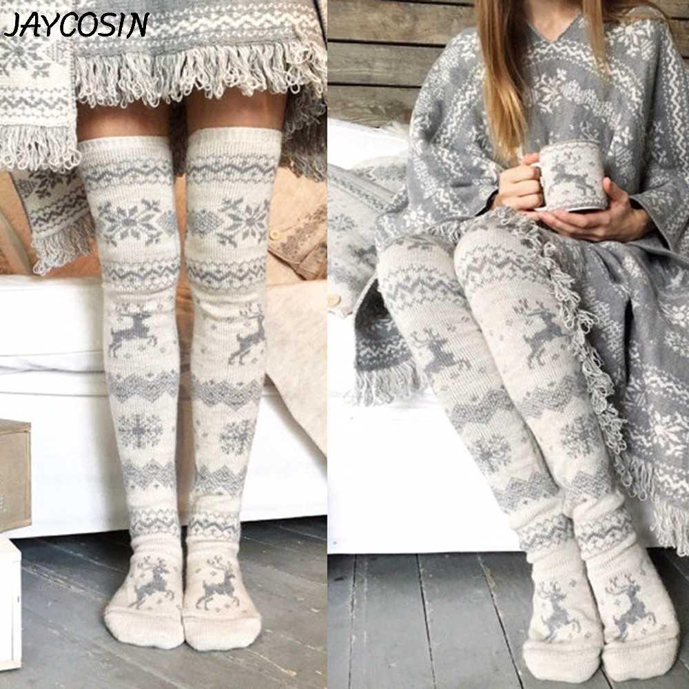 JAYCOSIN kadınlar noel kar tanesi Elk çorap uyluk yüksek uzun çorap sıcak kış örgü diz çorap noel örgü yün çorap