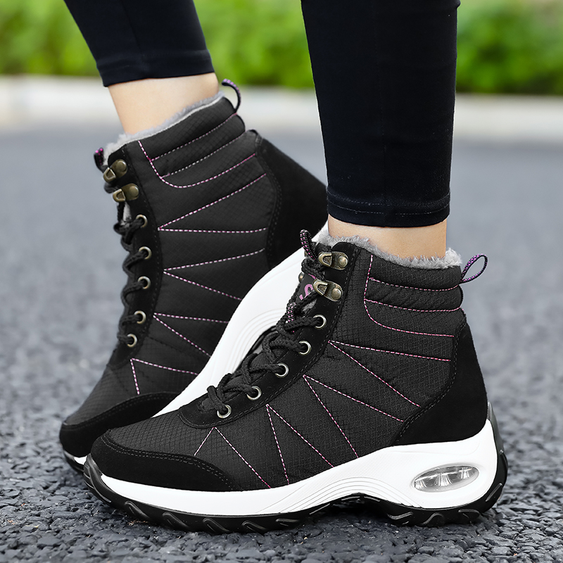 Winter Shoes Woman Snow Boots Warm Fur Plush Insole Boots Flock Ankle Boots Women Shoes Lace-up Lightweight Sneakers Women 12