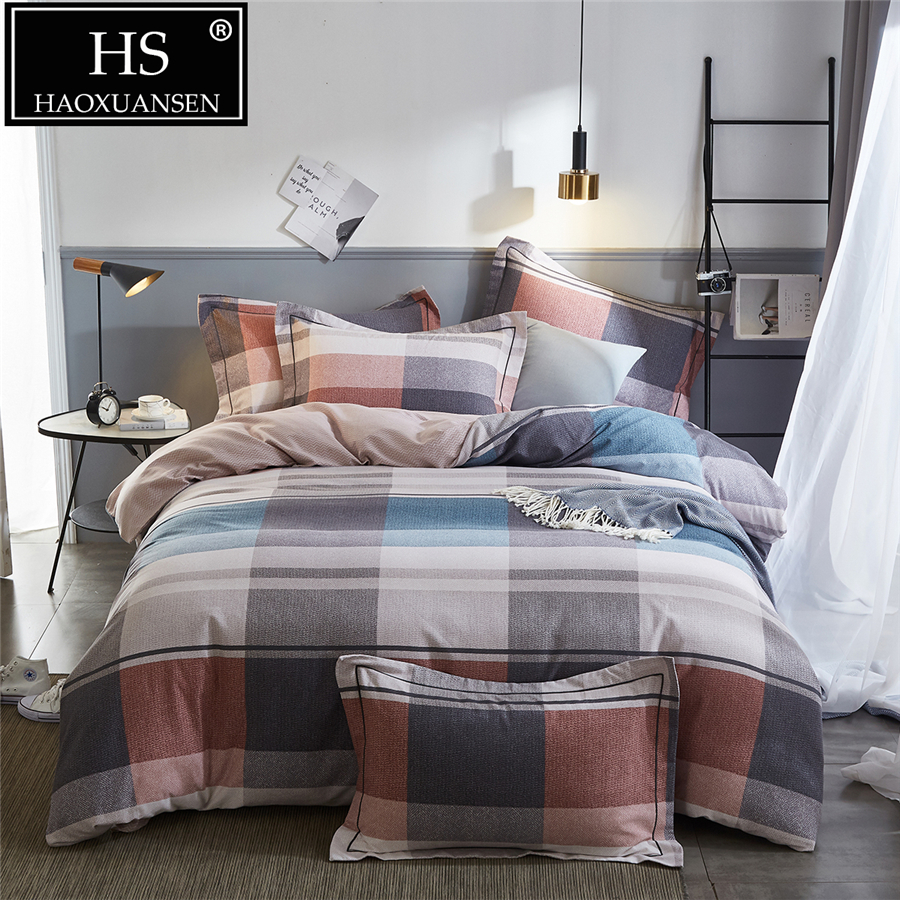 Plaid 4psc Sanding Cotton Bedding Set Multicolor Thick Duvet Cover Soft Flat Sheets Set For Winter Queen King Size