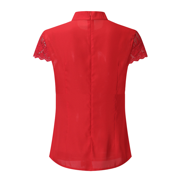Summer Women Chiffon Blouses  Stand Collar Lace Short Sleeves Elegant Lady's Shirts Lace Patchwork Blouse Sexy Shirts 5