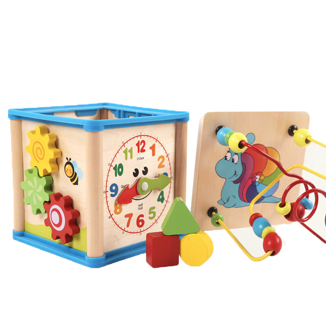 Multifunction Wooden Beads Shape Sorter Education Activity Cube Kids Toy