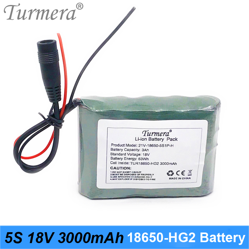5S 18V 21V 3000mAh Reachargeable Lithium Battery Pack TUR18650HG2 3000mAh 30A Battery Cell with 5S BMS for Screwdriver 18V 21V image