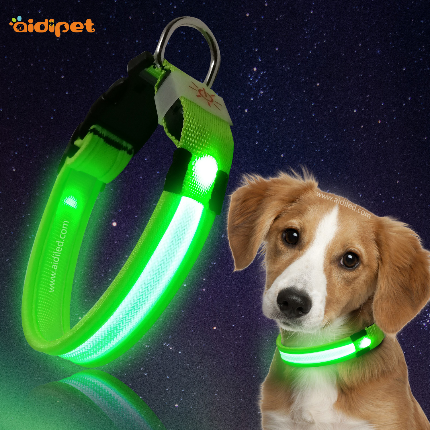 Pet Supplies LED Dog Collar Night Safe Fishing Line Grid USB Luminous Collar Dog Neck Ring