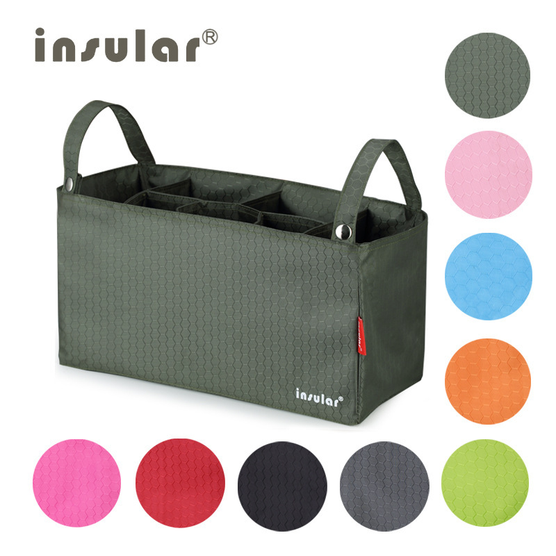 Insular Diaper Bag MOTHER'S Bag Inner Wearing Partition Bag Waterproof Multi-functional Baby Stroller Pannier Bag Wholesale