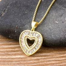 Wysokiej jakości romantyczne serce Pandant naszyjnik miedziany cyrkon CZ naszyjnik z kamienia ze złotym łańcuszkiem biżuteria dla kobiet pary