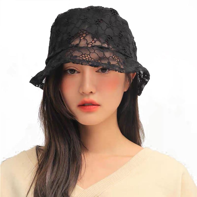 2020 New Korean Fashion Lace Black Bucket Hat Summer Sun Hats For Women Hollow Out Flower Fishermen Hat Casual Lady Bucket Cap