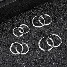 Punk mini pequeno círculo redondo hoop brincos para mulher ouro prata cor brilhante huggie brincos masculino orelha osso fivela 12-18mm