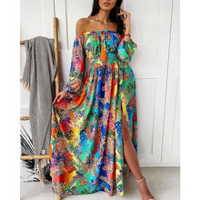 Boho floral vestido feminino verão fora do ombro colorido fenda maxi vestido sexy manga comprida slash neck vestidos a linha 2021