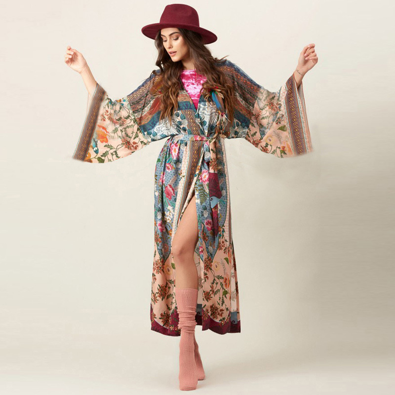 Wholesale Europe And America Cotton Printed Belt Loose-Fit Beach Jacket Coat Cardigan Bikini Cover-up Bathing Suit Outdoor