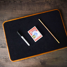 Card Mat (Close Up Style, Wooden,46*31cm) Magic Tricks Professional Magician Accessories Gimmick Coin Poker Mat Table Pad Board