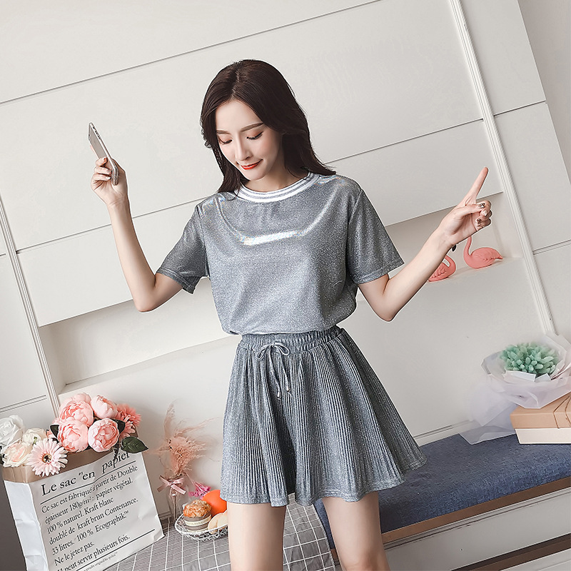 2018 Summer Wear New Style Korean-style Loose-Fit Round Neckline T-shirt + Pleated Wide-Leg Shorts Soft Pink Two-Piece Set Women