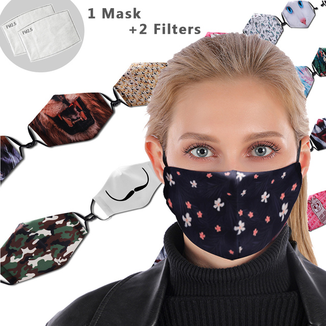 Flower Facial Reusable Mouth Mask Washable Protective PM2.5 Filter Mask Anti Dust Face Mask Windproof Mouth-muffle Anti Flu Mask