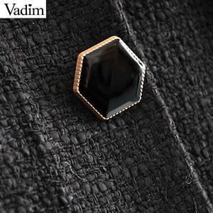 Image 3 - Vadim women stylish tweed midi skirt front split high waist buttons decorate female retro casual skirts mujer BA855