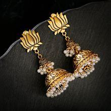 2020 Ретро Индийский Золотой Цвет Цветок лотоса жемчужные серьги