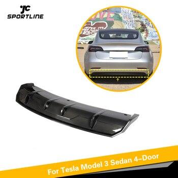 Carbon Fiber Car Rear Bumper Diffuser Lip Splitters For Tesla MODEL 3 2016 - 2019 Rear Bumper Diffuser Lip Splitters