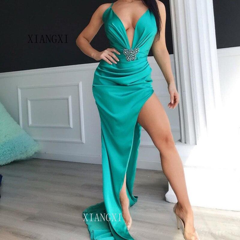 2020 Long Evening Dresses A-Line V-Neck 3D Flower Evening Dress Formal Gowns Party Gowns Vestido De Festa Longo