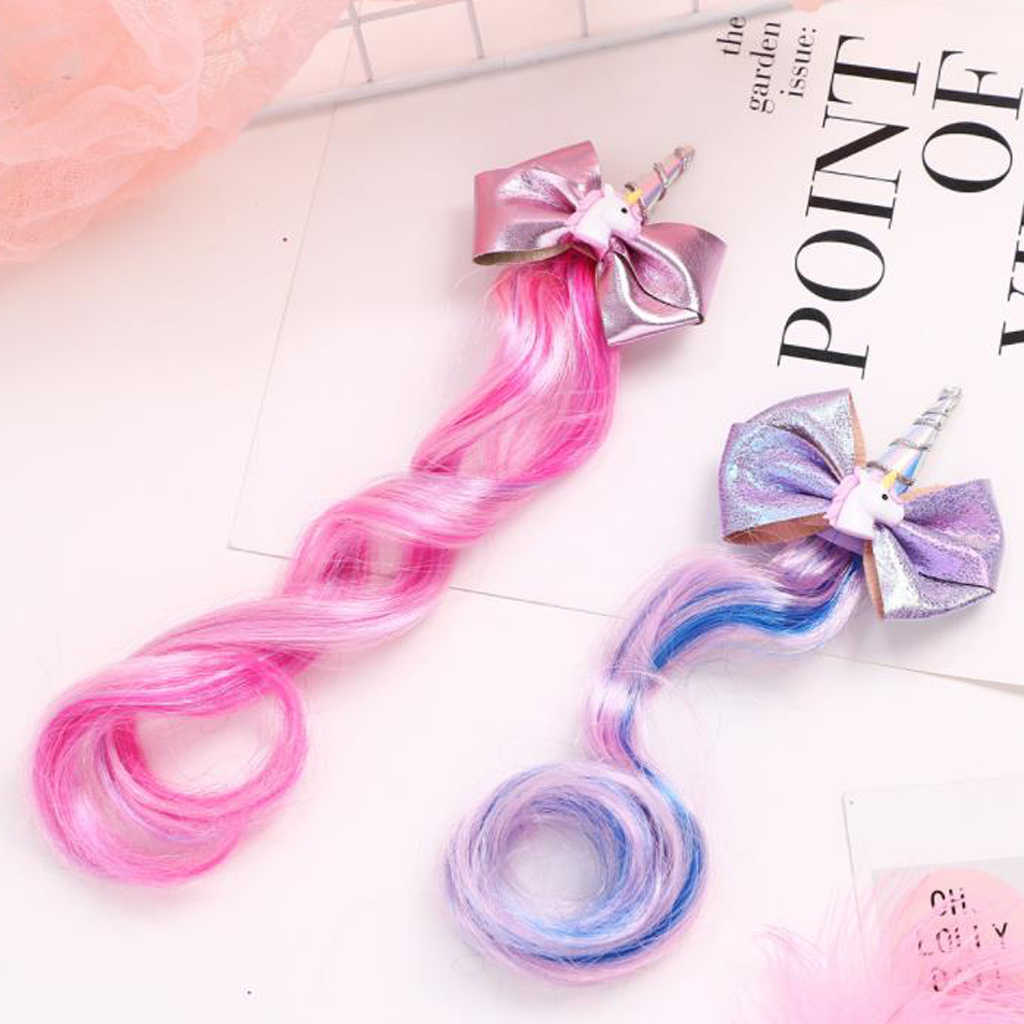 5pcs Girls Kid Unicorn Hair Bow Clip Rainbow Extensions Wig Pony Party Headpiece