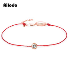 Ailodo Red Lucky Bracelets For Women Girls Simple Fashion Rope Chain Shining Crystal Party Wedding Jewelry LD279