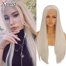 Xtrend perruque Lace Front Wig synthétique lisse, blanc, rose, violet, vert, blond 613 gris, 60 cuivre, résistant à la chaleur pour femmes noires