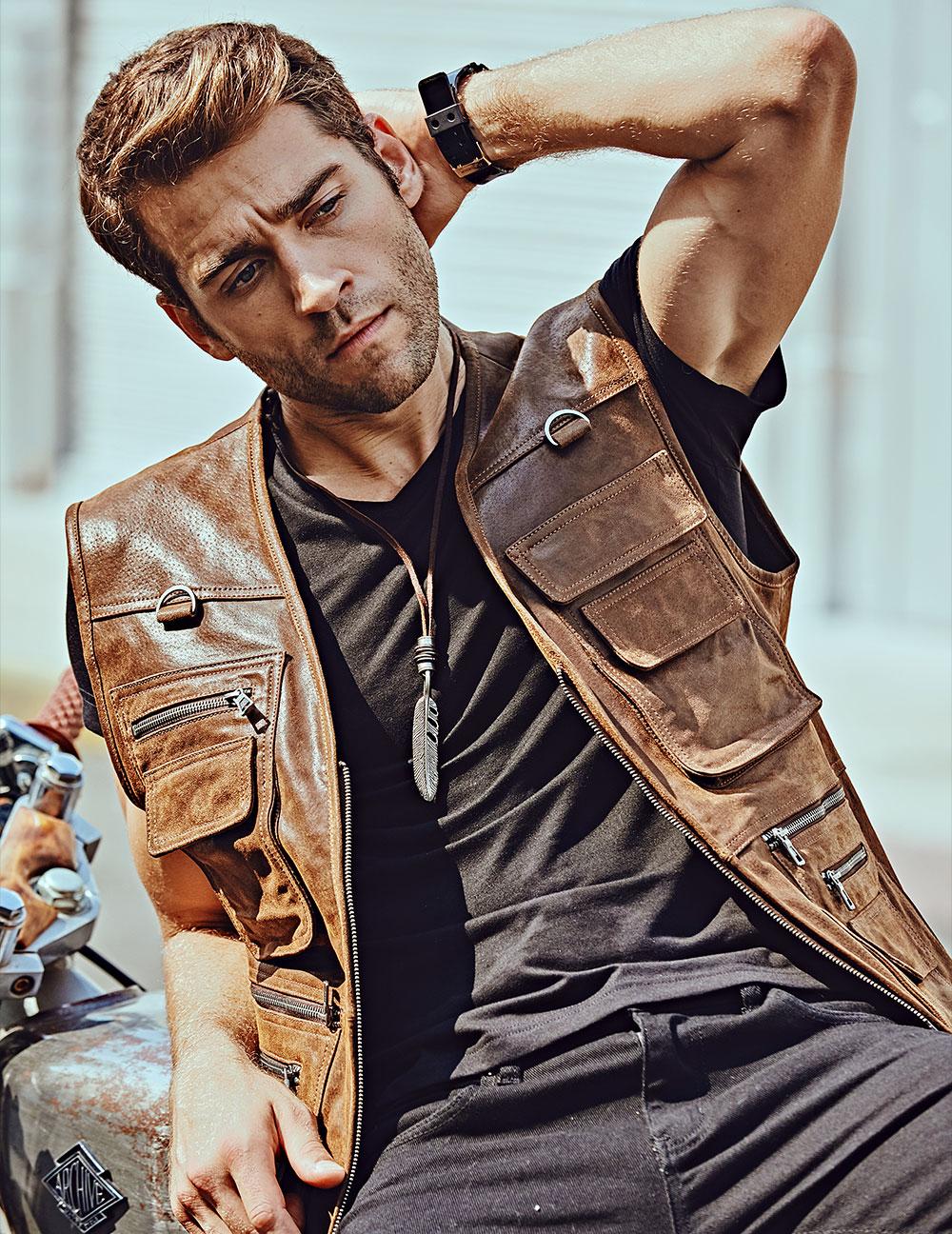 H198e82654bf34fc68bf2a1ad6f4e587eI FLAVOR New Men's Real Leather Vest Men's Motorcycle Fishing Outdoor Travel Vests