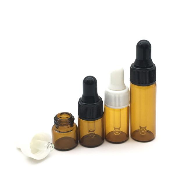 Mini Botella de vidrio vacía portátil de Perfume para aromaterapia, aceite esencial con cuentagotas de vidrio, 1ml, 2ml, 3ml, 5ml, 10 Uds.